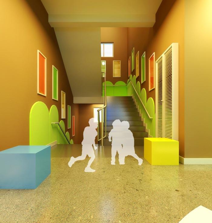 高端幼儿园楼梯玩耍区域装修设计案例