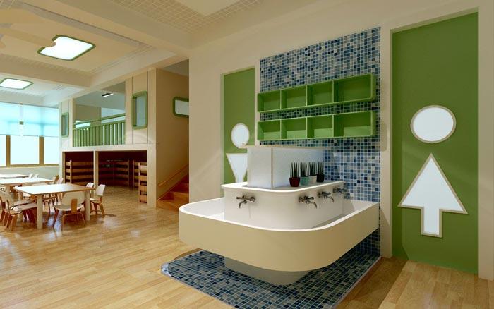 现代简约幼儿园洗手区装修设计案例