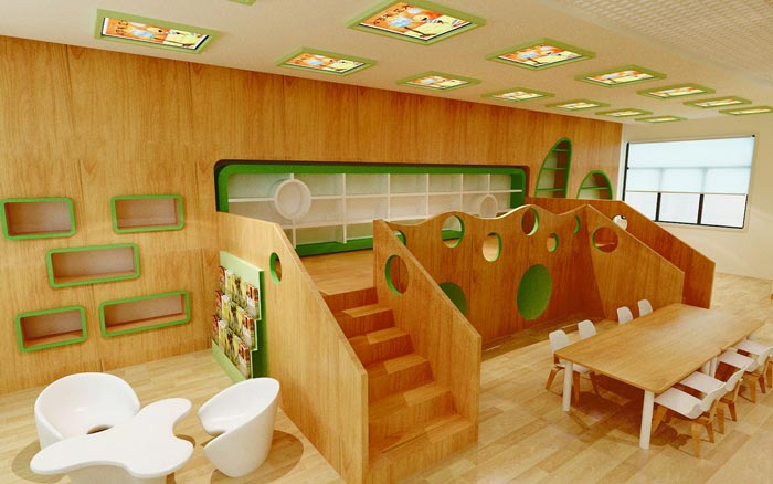 现代简约幼儿园休息区装修设计案例