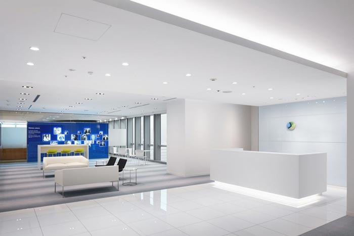 医药中心办公室前台装修设计案例效果图