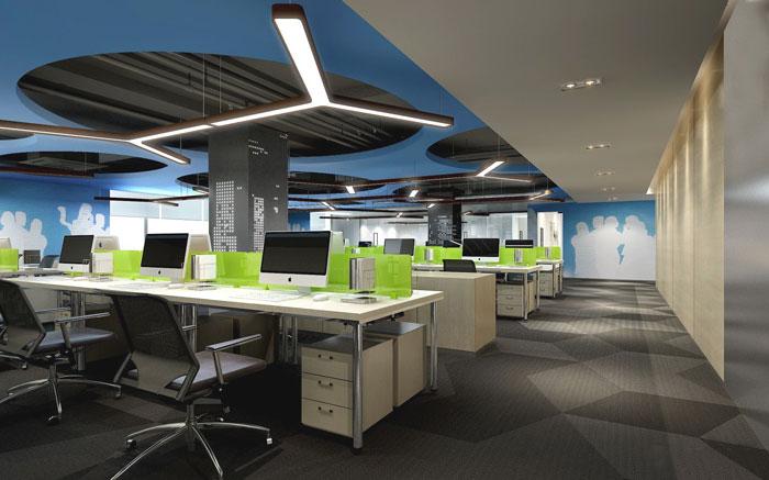 金融咨询公司办公室办公区域装修设计案例效果图