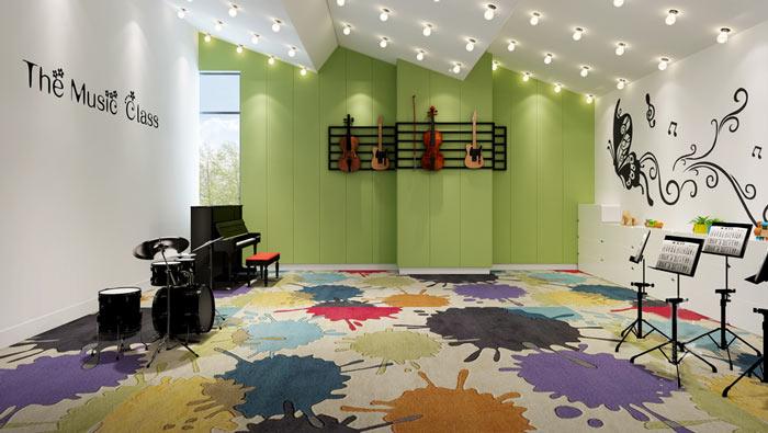 学前教育学校音乐教室装修设计案例效果图