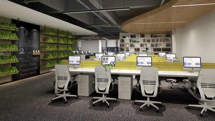 互联网媒体办公室办公区域装修设计案例效果图