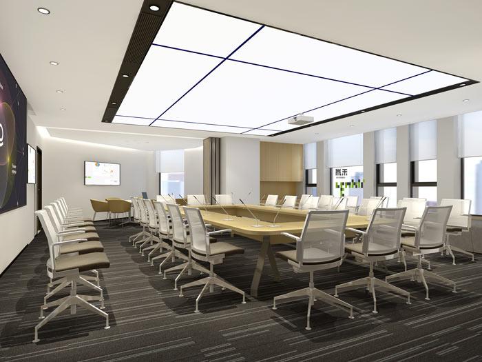 互联网媒体办公室会议室装修设计案例效果图