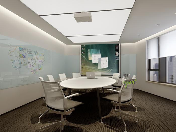 互联网媒体办公室小会议室装修设计案例效果图