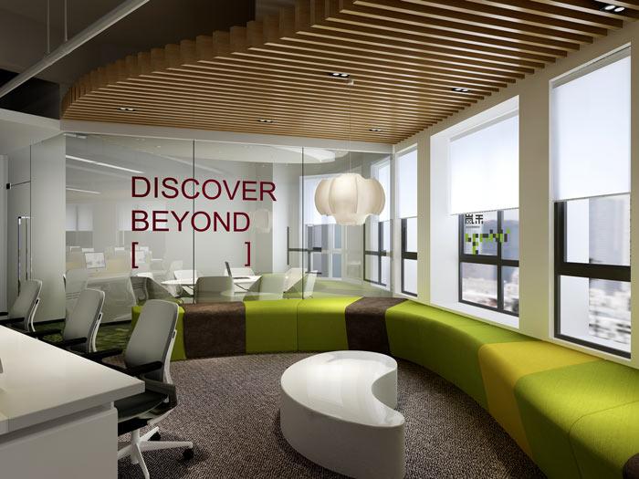互联网媒体办公室休息区域装修设计案例效果图