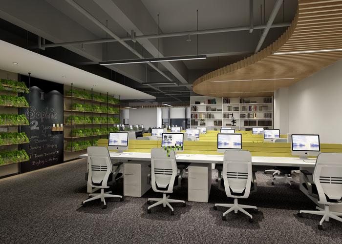 互联网媒体办公室装修设计效果图