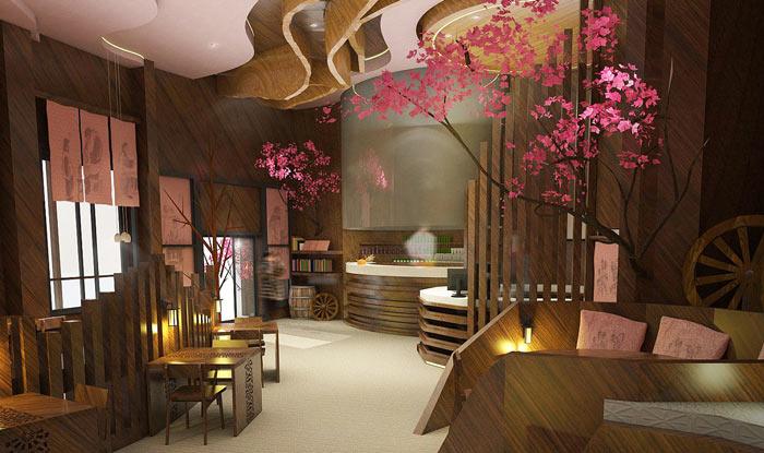 特色风味餐厅进门区装修设计效果图