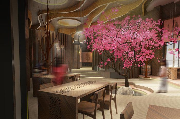 特色风味餐厅桃树装修设计效果图