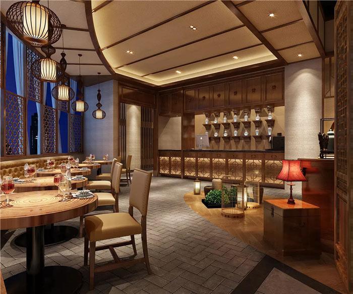 中式餐厅进门区装修设计效果图
