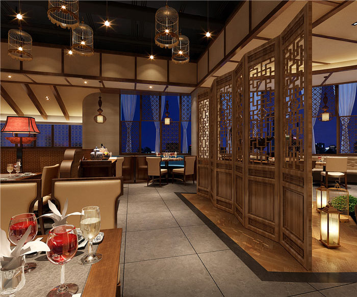 中式餐厅中厅装修设计效果图