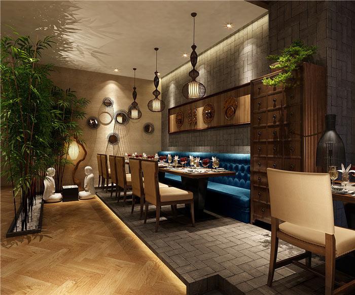 中式餐厅转角装修设计效果图