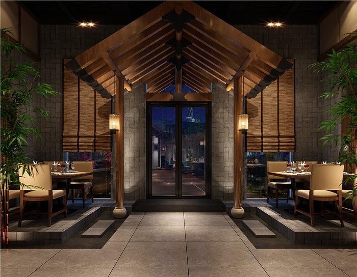 中式餐厅装修入口设计效果图