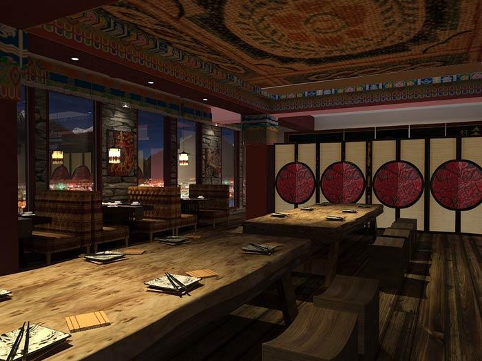 藏式主题餐厅装修设计效果图