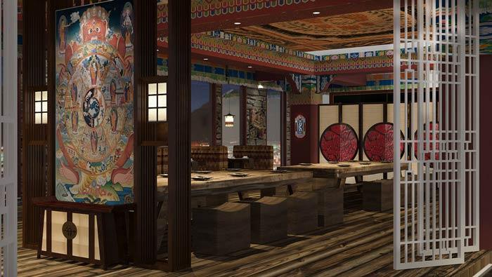 美图手机效果图_藏式主题餐厅装修设计效果图_岚禾餐厅设计