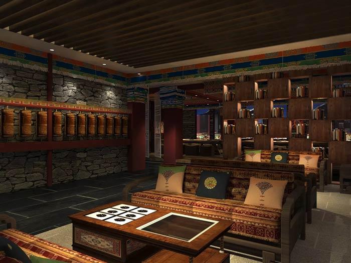 藏式主题餐厅等待区装修设计效果图