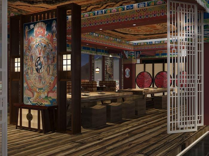 藏式主题餐厅就餐区装修设计效果图