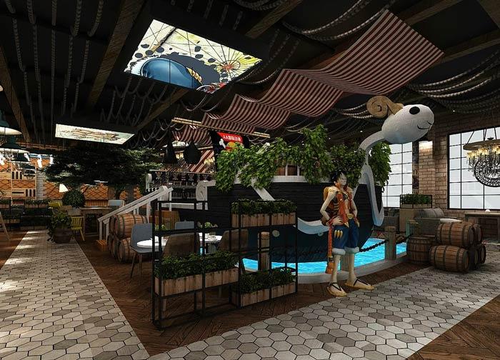 海贼王主题餐厅装修设计效果图