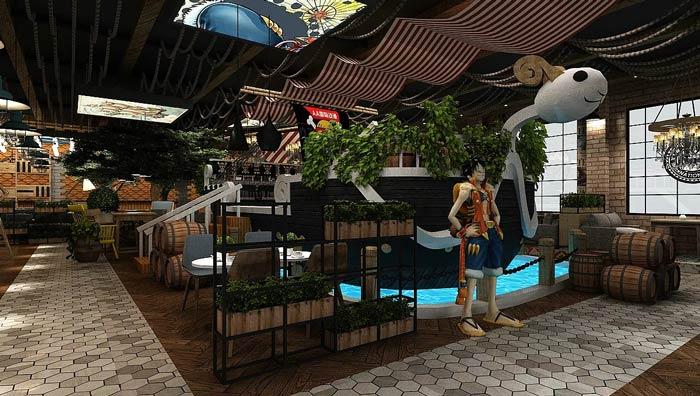 海贼王主题餐厅海盗船装修设计效果图