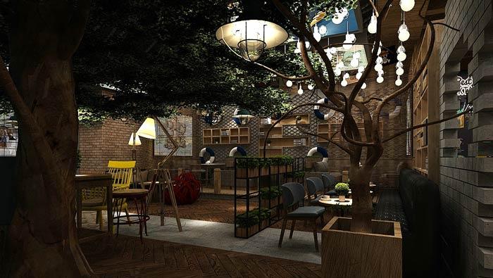 海贼王主题餐厅休闲区装修设计效果图