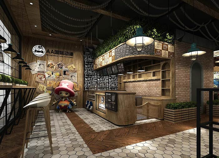 海贼王主题餐厅吧台装修设计效果图