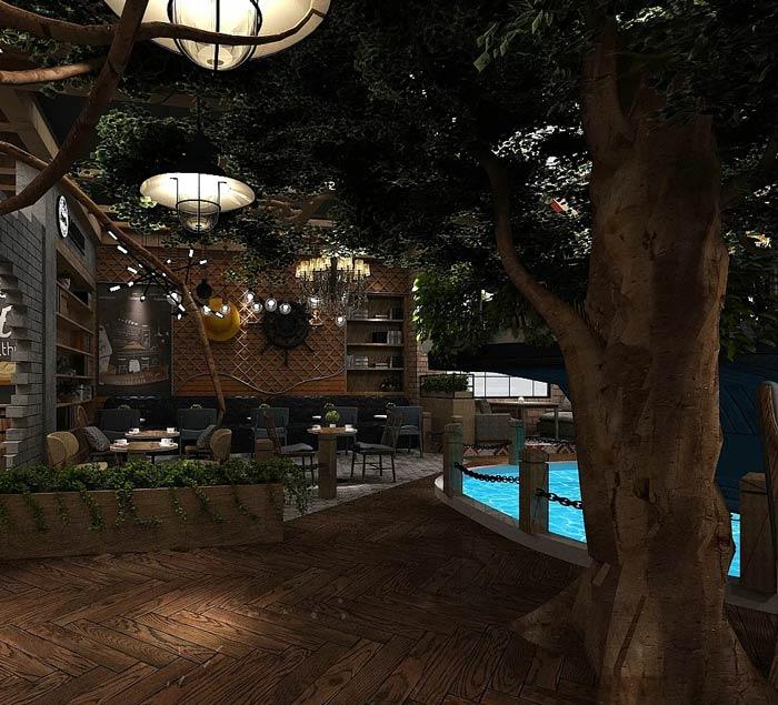 海贼王主题餐厅餐区装修设计效果图