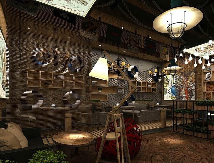 海賊王主題餐廳包廂裝修設計效果圖