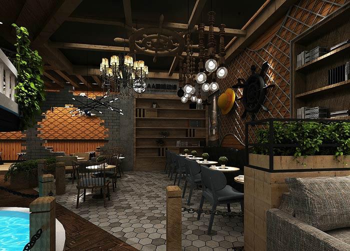 海贼王主题餐厅双人桌装修设计效果图