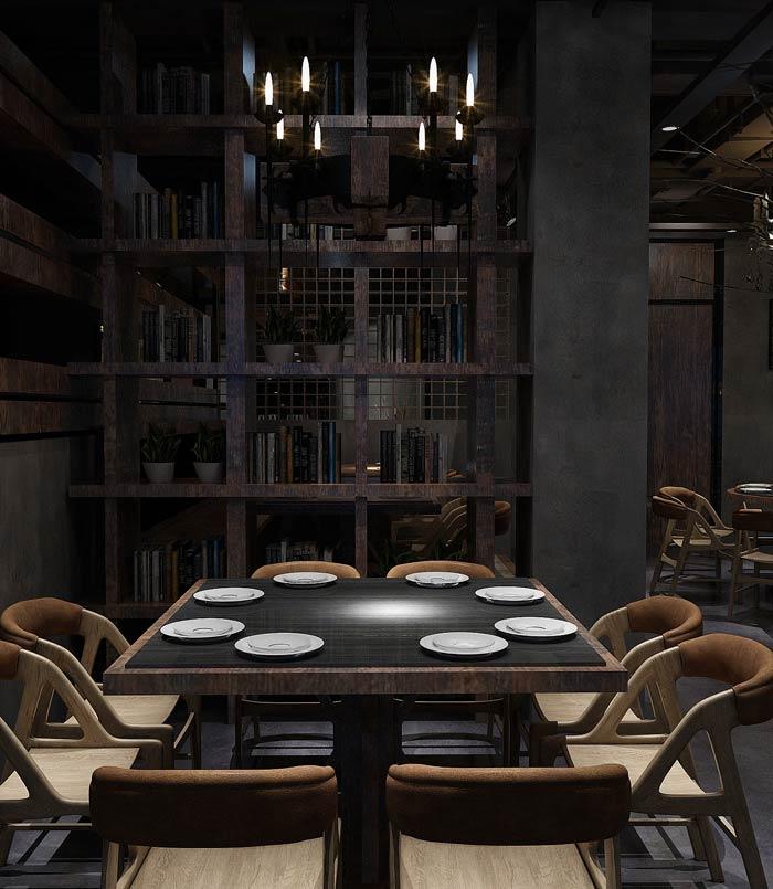 特色主题餐厅八人桌装修设计效果图