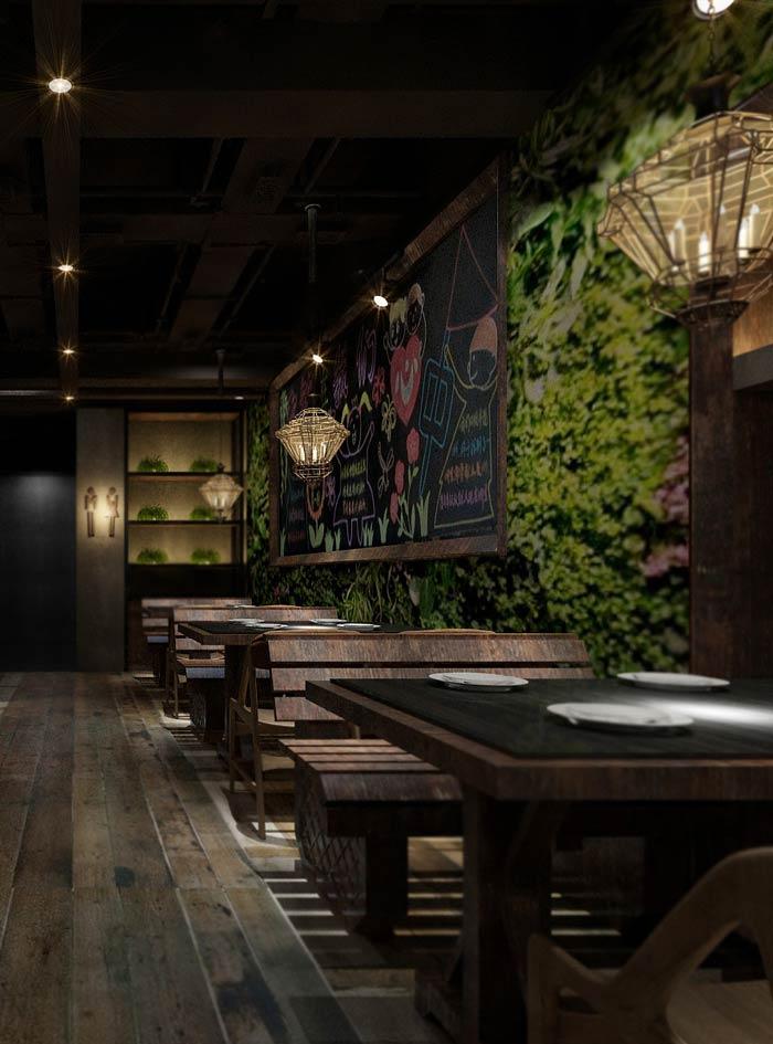 特色主题餐厅古式餐桌装修设计效果图