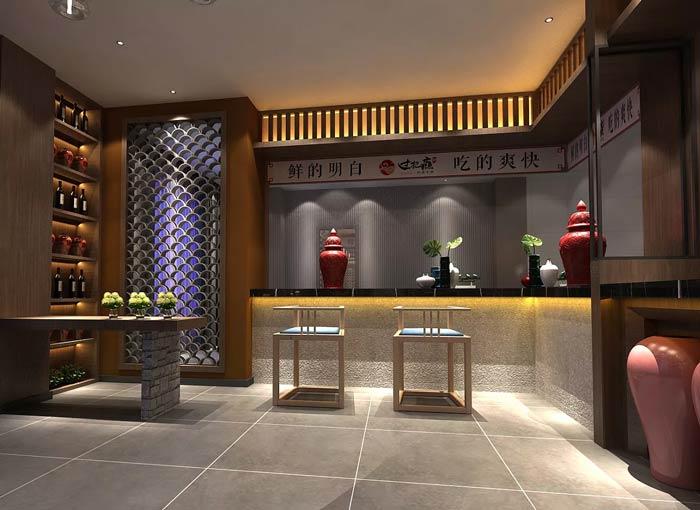新中式火锅店前台装修设计效果图图片