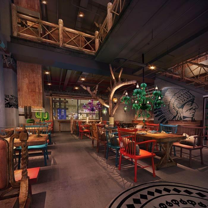 原始烧烤店一楼餐区装修设计效果图