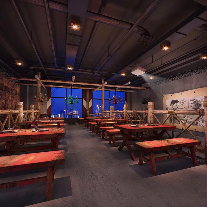 原始烧烤店二楼餐区装修设计效果图