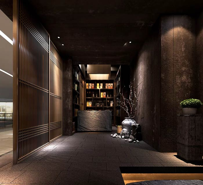 日式料理餐厅进门区装修设计效果图