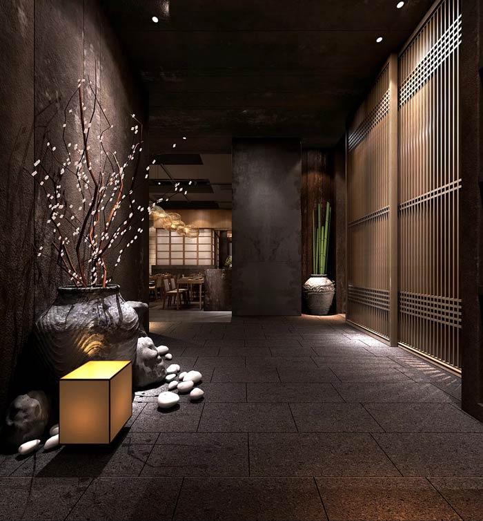 日式料理餐厅过道装修设计效果图