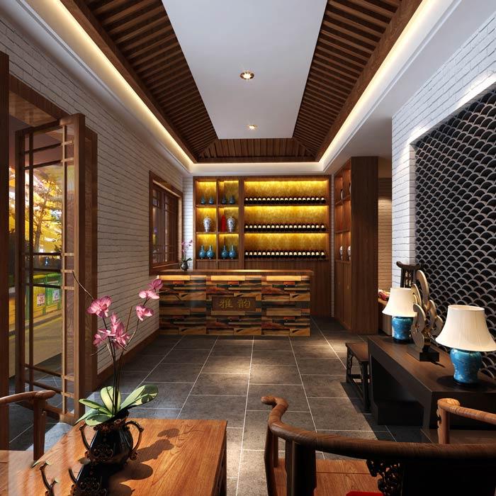 中式茶餐厅进门区装修设计效果图