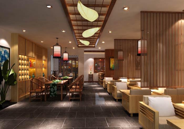 中式茶餐厅餐区装修设计效果图