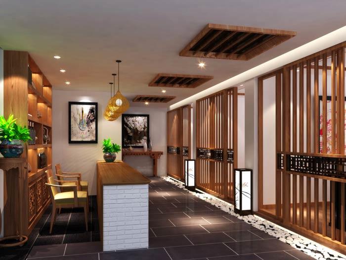中式茶餐厅引导区装修设计效果图