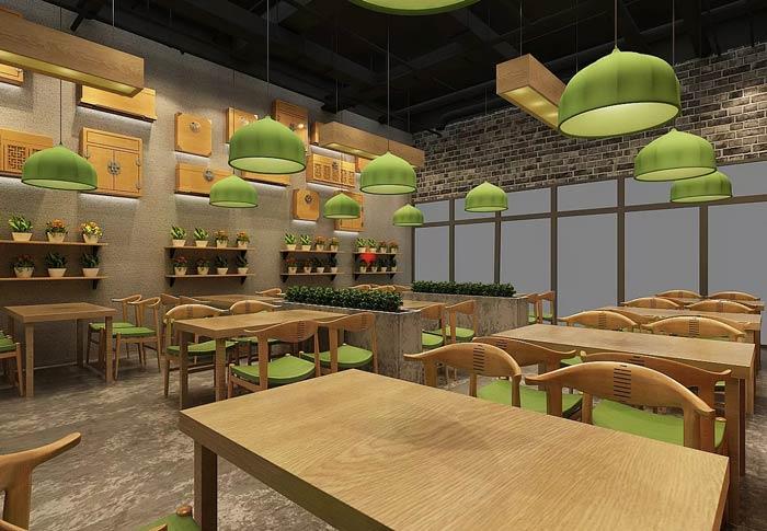 中式快餐店餐桌装修设计效果图