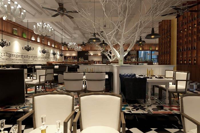 休闲西餐厅餐区装修设计效果图