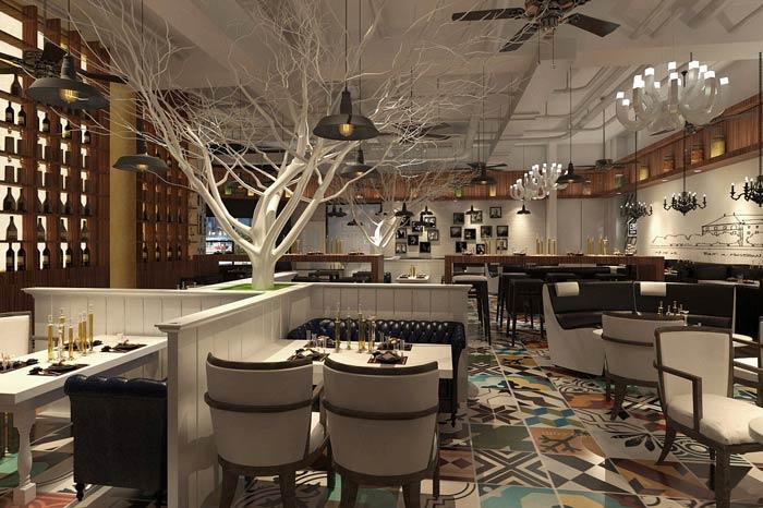 休闲西餐厅四人区装修设计效果图