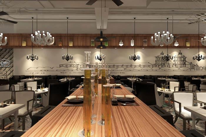 休闲西餐厅餐桌装修设计效果图