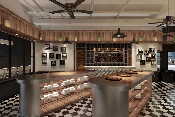 休闲西餐厅摆放区装修设计效果图