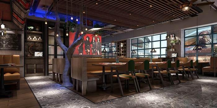西餐廳牛排餐區裝修設計效果圖