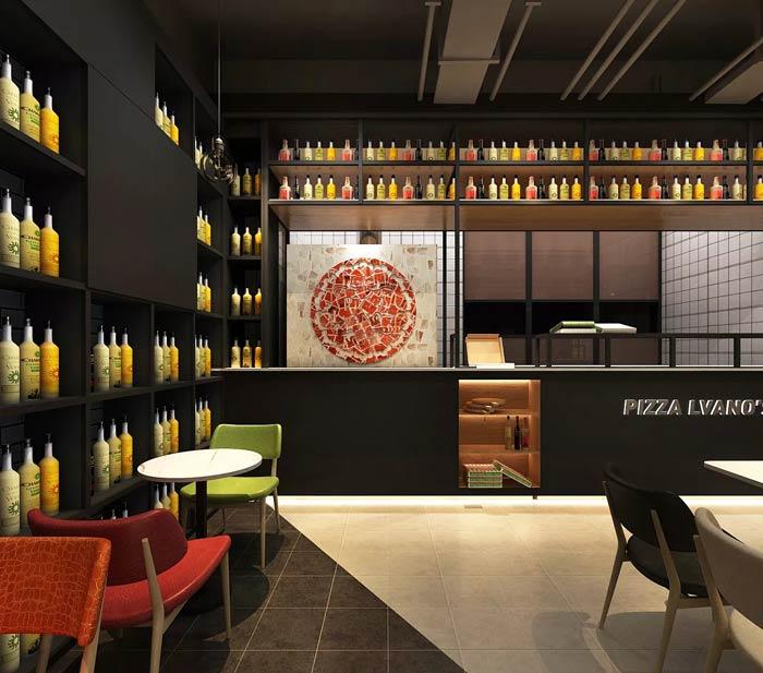 主题西餐厅饮品区装修设计效果图