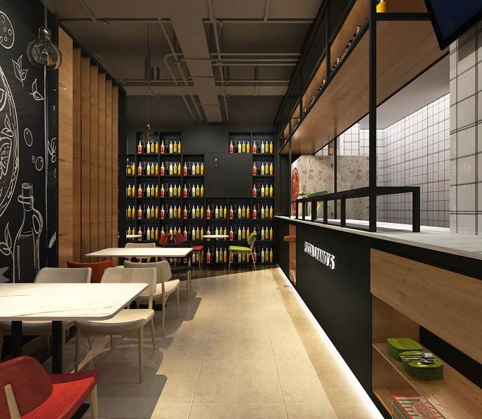 主题西餐厅进门餐区装修设计效果图