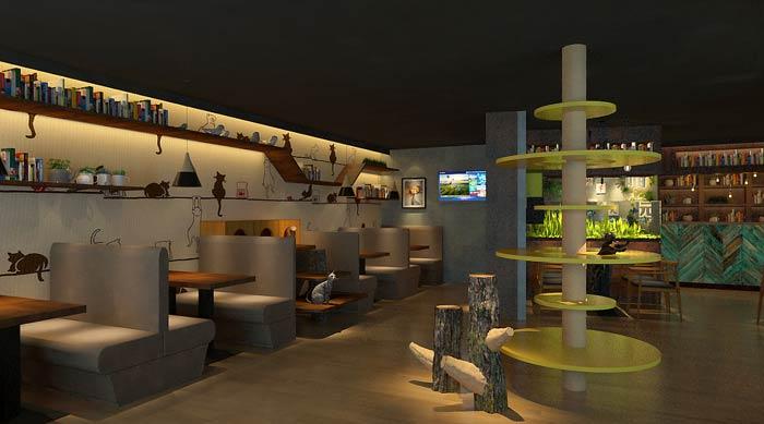 主题咖啡厅猫咪区装修设计效果图
