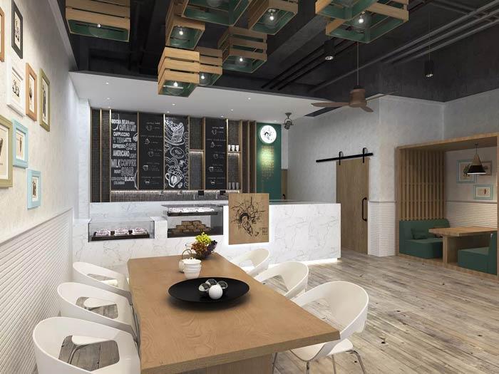 街角的咖啡店六人区装修设计效果图