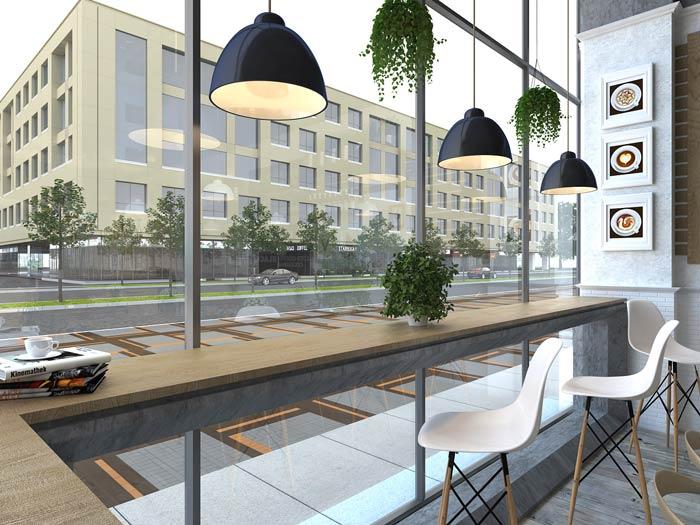 街角的咖啡店吧台装修设计效果图