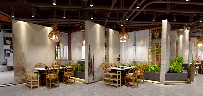 景区私家菜馆进门区装修设计效果图